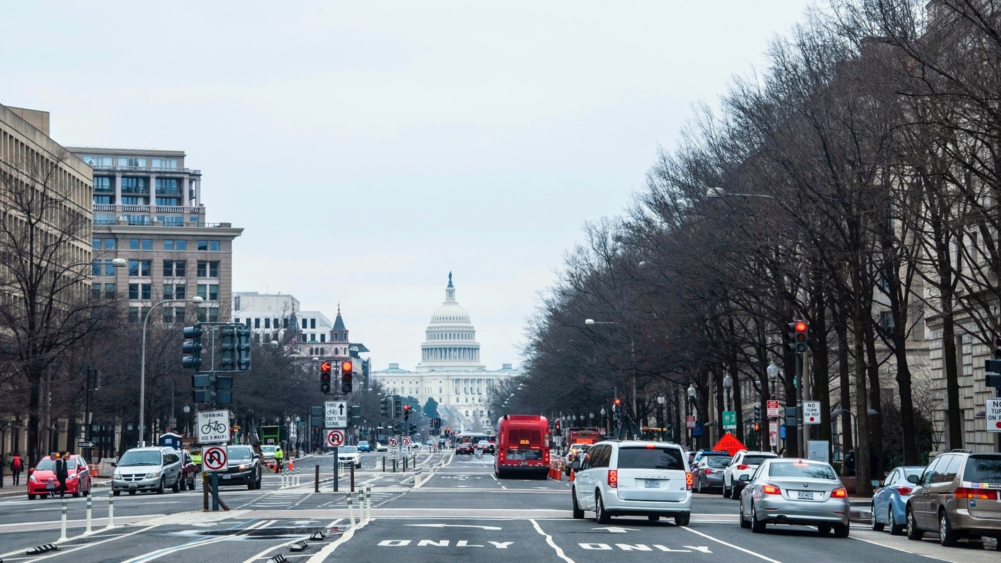 Washington DC city street with capital in background